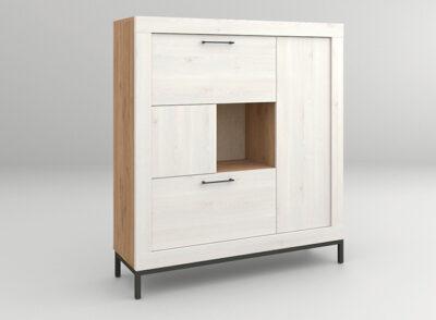 Aparador blanco y madera con patas negras opcionales