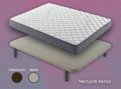 Base tapizada y colchón 150 x 190
