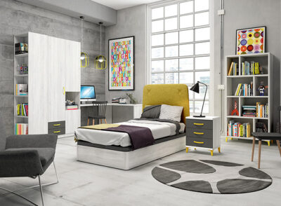 Cabecero cama 90 juvenil tapizado amarillo