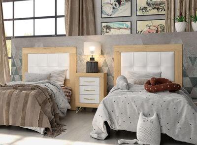 Cabecero cama 90 madera con mesita de madera a juego