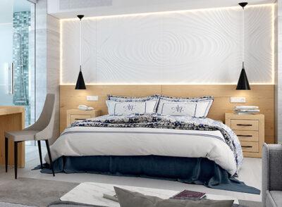 Cabecero madera tipo panel cama matrimonio