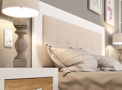 Cabecero madera y tapizado blanco y beige