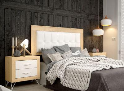 Cabecero polipiel blanco y marco de madera para colgar