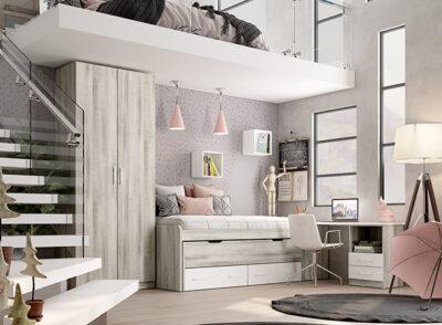Cama con cama nido juvenil blanca y gris