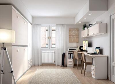 Cama doble abatible horizontal para habitación juvenil