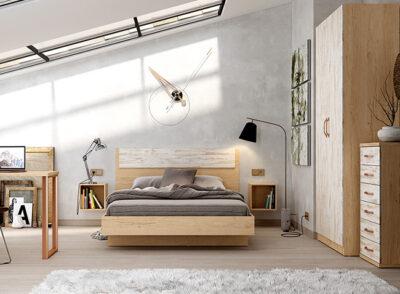 Cama habitación juvenil con cabecero de estilo nórdico