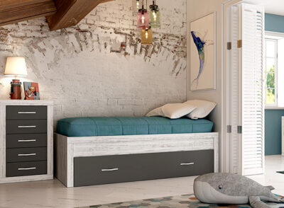 Cama individual con cama debajo nido juvenil