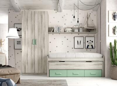 Compacto cama juvenil con cajones gris y verde menta