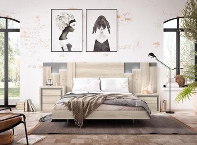 Composición dormitorio matrimonio cabecero y mesitas