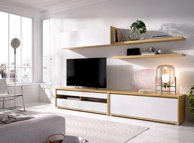 Composición mueble TV madera y blanco