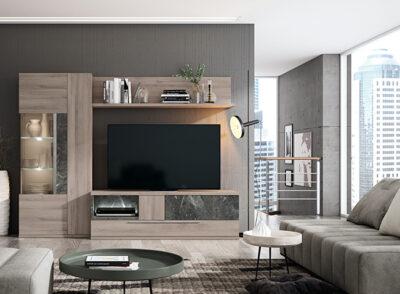 Composición muebles salón con compacto para TV y vitrina