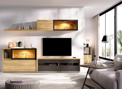Composición salón moderno color madera y gris grafito