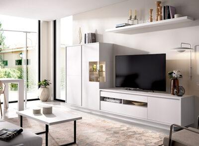 Conjunto aparador y mueble TV blanco mate