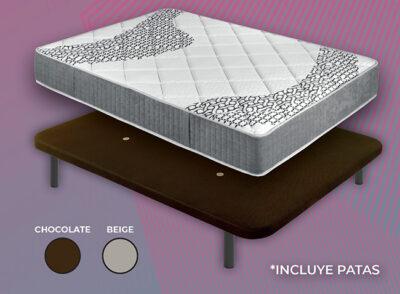Conjunto colchón y base tapizada para cama de 150