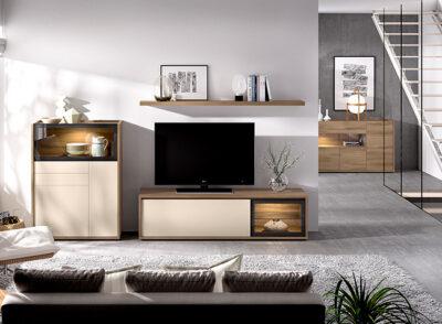 Conjunto de muebles para TV con módulos personalizables