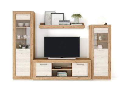 Conjunto mueble TV y vitrina con cristales