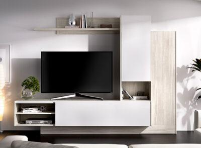 Conjunto muebles salón en color blanco brillo y gris