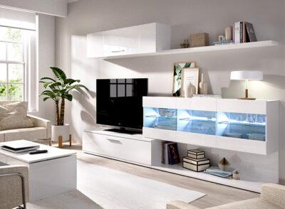 Conjunto salón blanco con mueble TV, vitrinas y estante