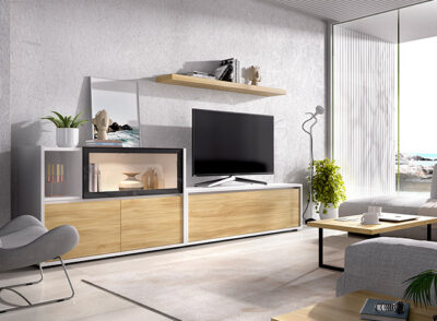 Conjunto salón completo modular blanco y roble