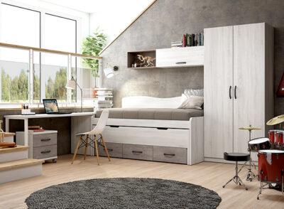 Estructura de cama con cajones juvenil color gris