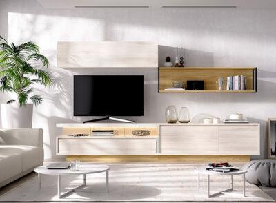 Módulos salón colgantes en color blanco roto y madera