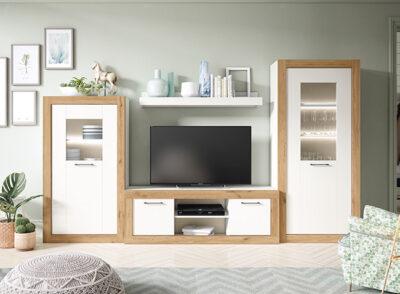 Mueble almacenaje salón blanco y madera