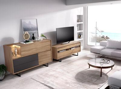 Mueble aparador para TV y mueble bajo madera y gris