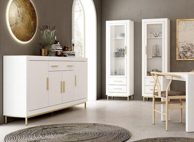 Mueble aparador salón blanco tiradores dorados