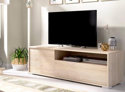 Mueble bajo de TV en color roble