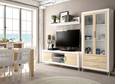Mueble bajo salón blanco y madera para televisión