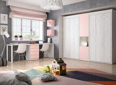 Mueble cama abatible juvenil rosa y gris