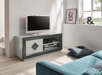 Mueble de TV gris y grafito con cajones hueco para dispositivos
