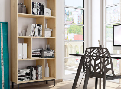 Mueble estantería salón de madera estilo nórdico