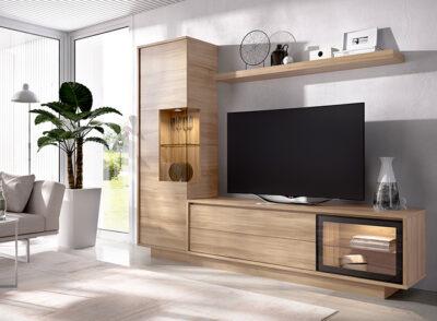 Mueble para tv con vitrina y estante color madera