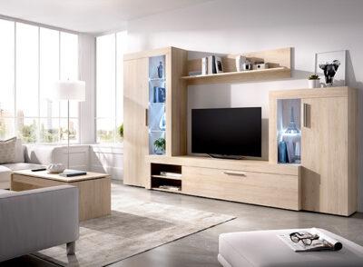 Mueble para TV escandinavo con vitrinas laterales y estante color madera blanqueada