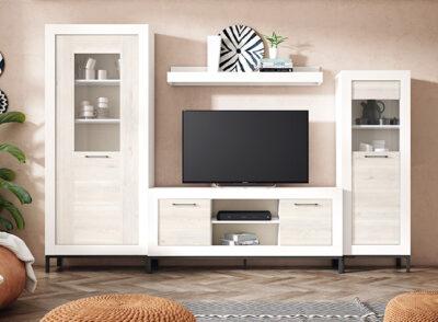 Mueble salón blanco y madera gris con almacenaje