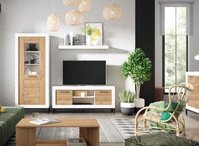 Mueble salón madera vitrina con marco blanco y puerta de cristal