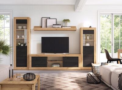 Mueble salón madera y negro para salón industrial