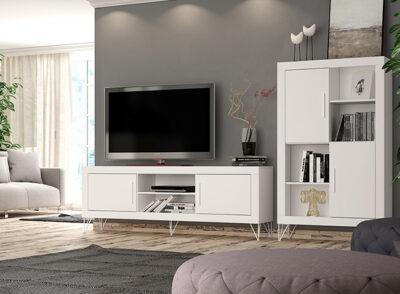 Mueble salón moderno blanco para TV
