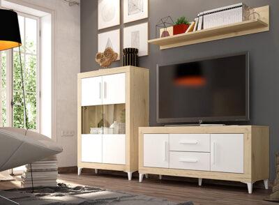 Mueble salón nórdico vitrina color roble