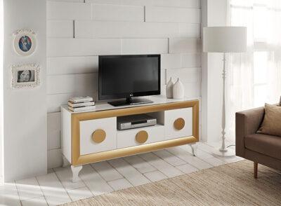 Mueble televisión clásico blanco y dorado