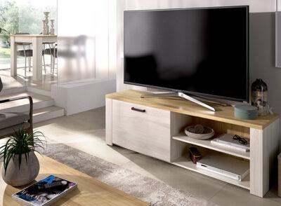 Mueble televisión rústico con puerta y hueco en blanco roto y madera