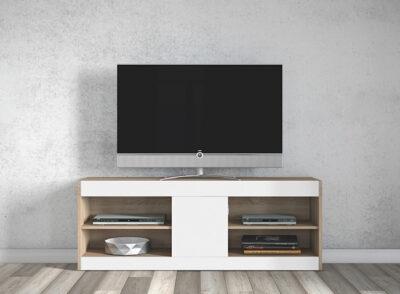 Mueble TV alto blanco y madera con puerta central
