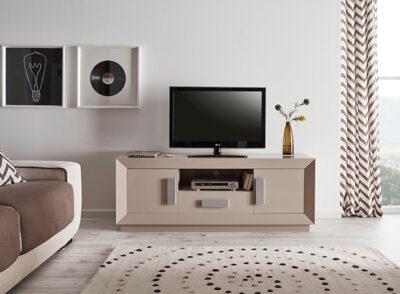 Mueble TV beige con 1 cajón y 2 puertas