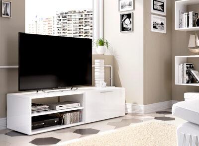 Mueble TV blanco brillo con puerta y huecos para dispositivos electrónicos