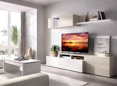 Mueble TV blanco y gris con estante y módulo colgante