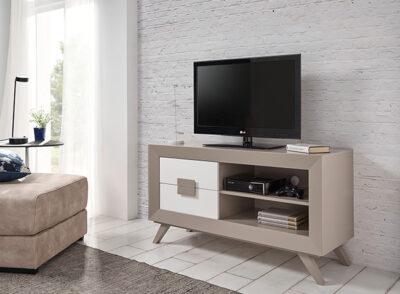 Mueble TV cajones y balda color moka y blanco mate