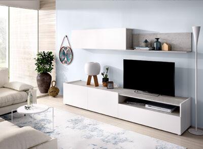 Mueble TV cemento y blanco con módulo colgante y estante