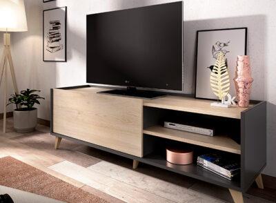 Mueble TV color roble y gris grafito