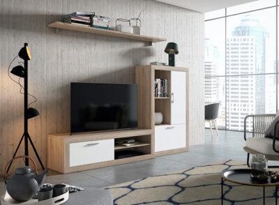 Mueble TV con almacenaje blanco y madera